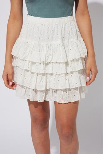 Eyelet Ruffle Skirt WHITE