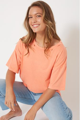 Destroyed Oversized Short Sleeve Tee CORAL