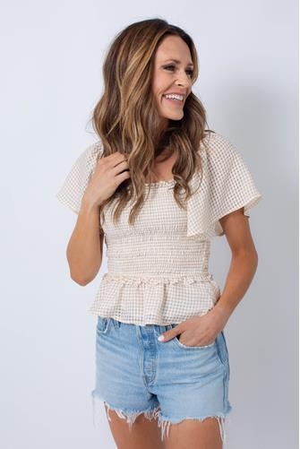 January Smocked Flutter Sleeve Top TAUPE