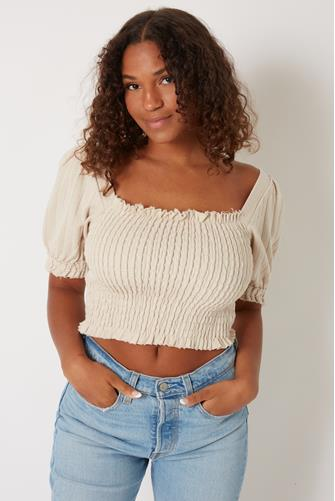 Knit Cotton Smocked Puff Sleeve Top TAN