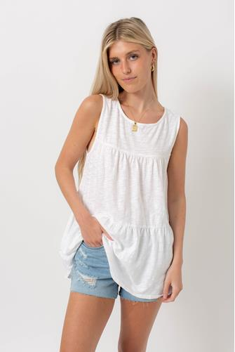 Scoop Neck Tiered Ruffle Tank Top WHITE