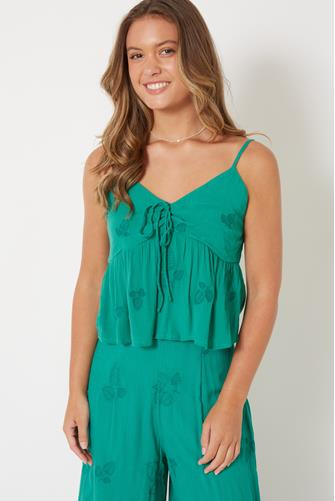 Tie Front Island House Cami GREEN