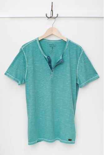 Aqua Slub Short Sleeve Henley AQUA