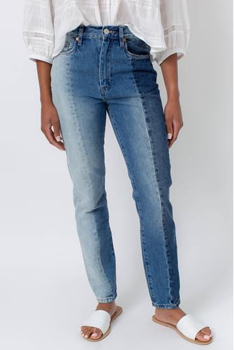 Color Block Ultra Hi Waist Straight Leg Jean in All Or Nothing MULTI
