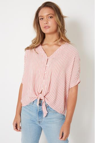 Striped Tie Front Short Sleeve Top RED
