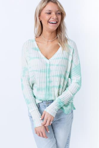 Ribbed V-Neck Tie Dye Long Sleeve Top GREEN