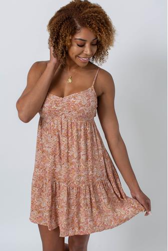 Paisley Mini Dress RUST