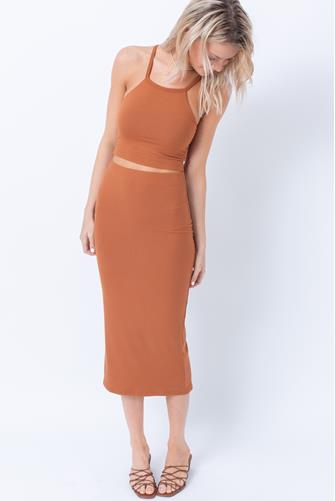 The Classic Rib Skirt BROWN