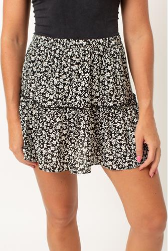 Floral Printed Tiered Skirt BLACK MULTI -
