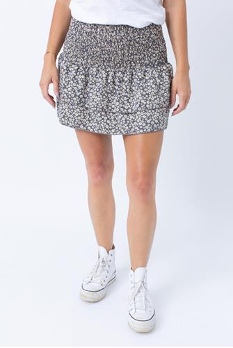 Ditsy Floral Smocked Skirt CHARCOAL