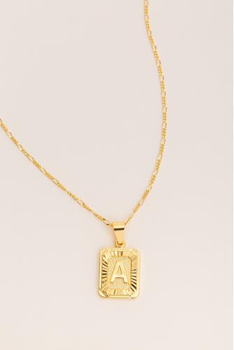 A Initial Card Necklace GOLD