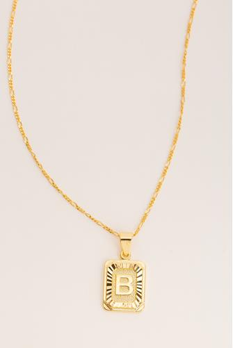 B Initial Card Necklace GOLD