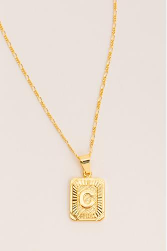 C Initial Card Necklace GOLD