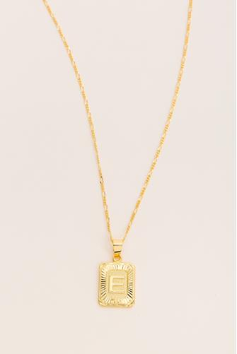 E Initial Card Necklace GOLD