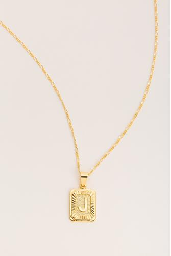 J Initial Card Necklace GOLD