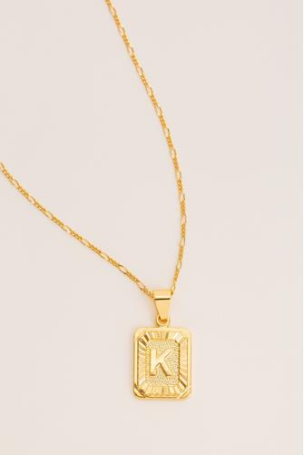 K Initial Card Necklace GOLD