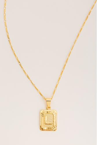 L Initial Card Necklace GOLD