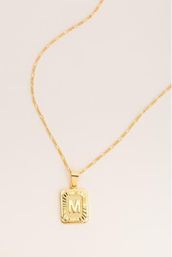M Initial Card Necklace GOLD