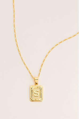 S Initial Card Necklace GOLD