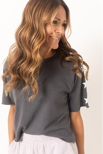 Star Print Cut Off Sweatshirt BLACK