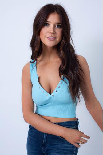Ribbed Snap Front Crop Top TURQUOISE