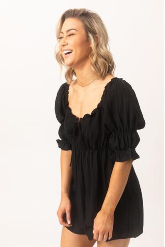 Puff Sleeve Mini Dress BLACK