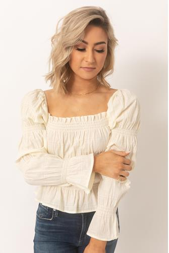 Square Neck Puff Long Sleeve Top CREAM