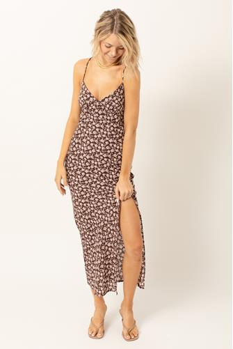 Tie Back Floral Maxi Slip Dress BROWN MULTI -