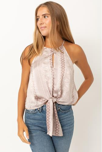 Printed Tie Front High Neck Tank Top TAUPE