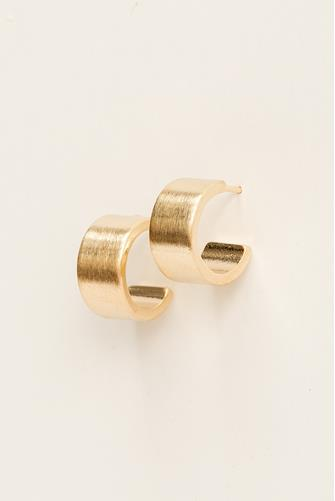 Mini Brushed Gold Huggie Earrings GOLD
