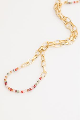 Pink Multi Paperclip & Bead Necklace MULTI