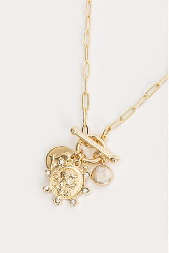 Medallion Paperclip Necklace GOLD