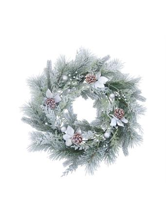 TRANSPAC - Snow Frosted Leaf Wreath NOVELTY