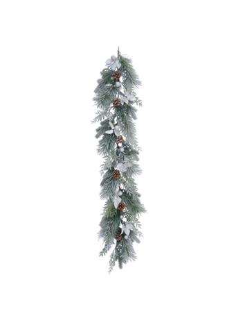 TRANSPAC - Snow Frosted Leaf Garland NOVELTY