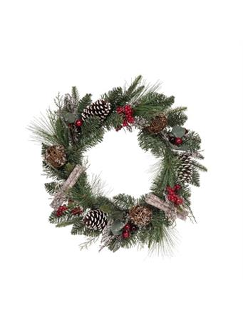 TRANSPAC - Floral Birch Accent Wreath NOVELTY