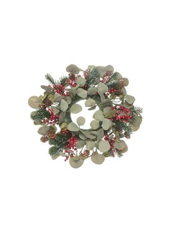 TRANSPAC - Wreath with Pinecone and Berries NOVELTY