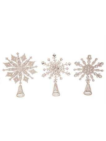 TRANSPAC - Metal Glitter Snowflake Tree Topper NOVELTY