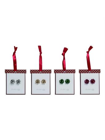 TRANSPAC - Christmas Bow Earrings SILVER