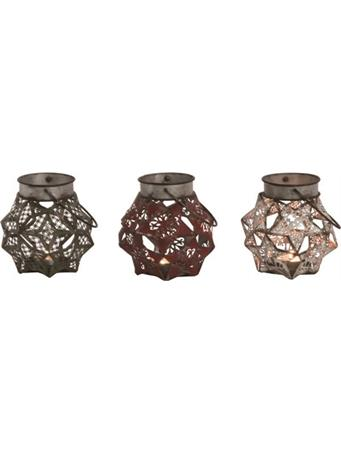 TRANSPAC - Metal Star Candle Holder RED