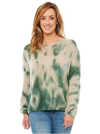 DEMOCRACY - Long Sleeve Blouson Tie Dye Light Weight Sweater SIMPLY TAUPE/ALPINE