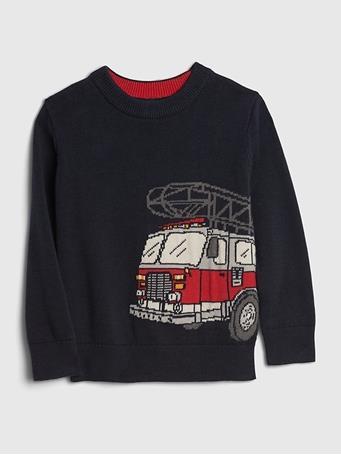 GAP - Toddler Fire Truck Novelty Sweater TAPESTRY NAVY