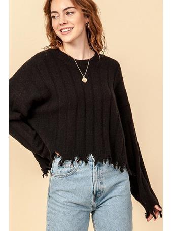 DOUBLE ZERO - Frayed Trim Sweater BLACK