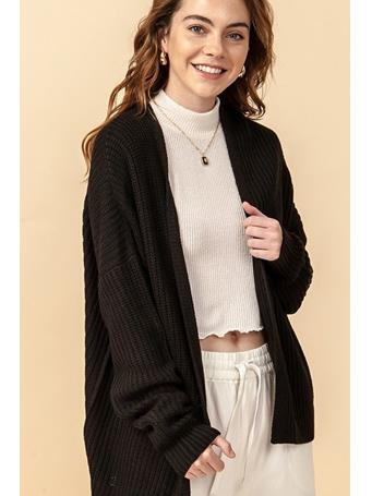 DOUBLE ZERO - Open Sweater BLACK