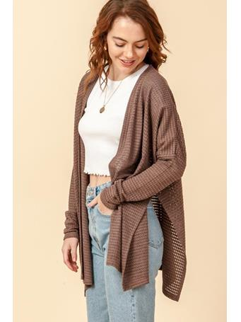 DOUBLE ZERO - Open Front Long Sleeve Poncho Style Cardigan DK BROWN