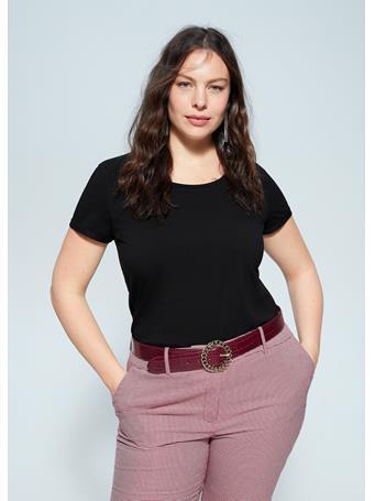 Violeta by MANGO - Cotton T-Shirt Basi BLACK