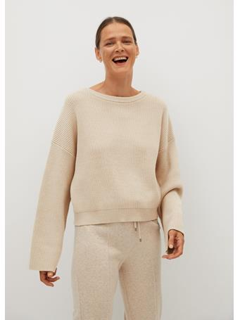 MANGO - Ribbed Knit Toti Sweater LIGHT BEIGE