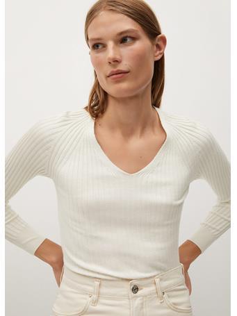 MANGO - Goleta Striped Rib Sweater NATURAL WHITE