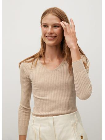 MANGO - Goleta Striped Rib Sweater LIGHT BEIGE