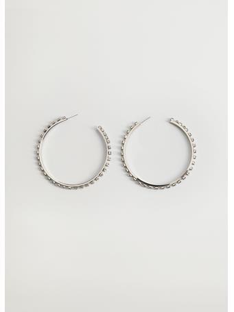 MANGO - Nurias Rhinestone Hoop Earrings LT PASTEL GREY