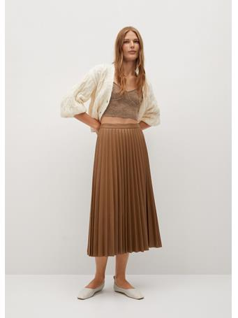 MANGO - Ona Faux-Leather Pleated Skirt MEDIUM BROWN